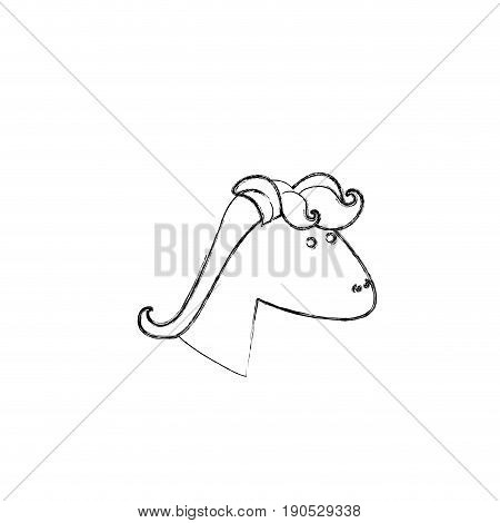 monochrome blurred silhouette of face side view right of female unicorn with mane vector illustration