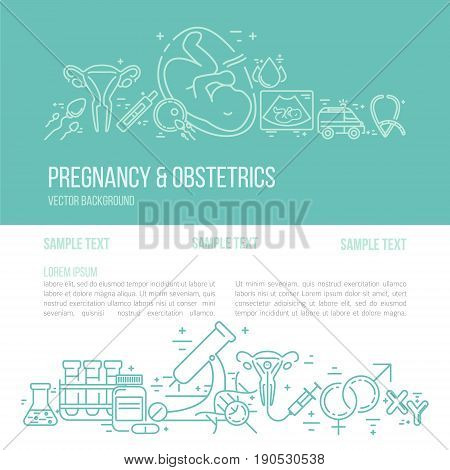 Banner template with research symbols including ultrasound In vitro fertilization gynecological chair pregnancy test pregnant woman. Line style vector illustration with place for your text.