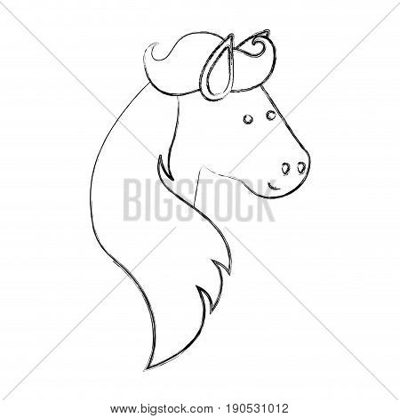 monochrome blurred silhouette of face side view of horse with long mane vector illustration