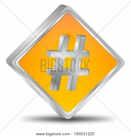 decorative orange Hashtag Button - 3D illustration