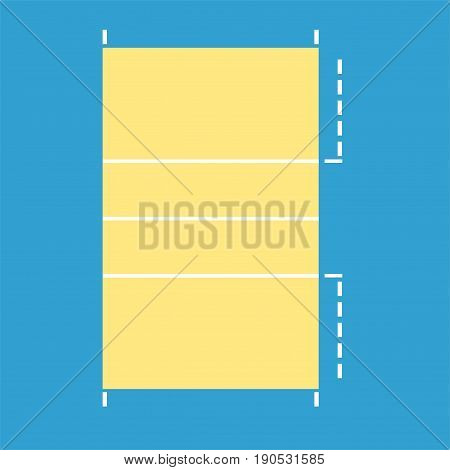Volleyball court flat icon.Volleyball field. Vector illustration.