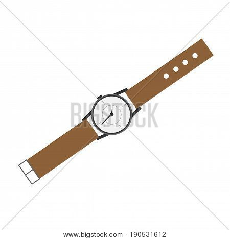Wristwatch flat icon. Isolated vector on white background.