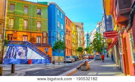 La Coruna, Galicia, Spain - June 9, 2017: Colorful street in La Coruna, Galicia, Spain