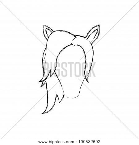monochrome blurred silhouette of faceless female horse with mane vector illustration