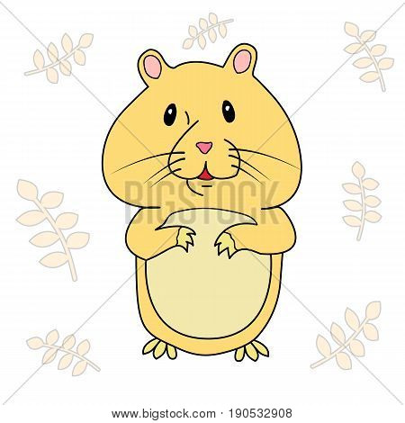 The hamster on the background of the spikelets. Vector isolated image. Icon. Mascot. For prints, posters, videos, mobile apps, web sites and print projects.