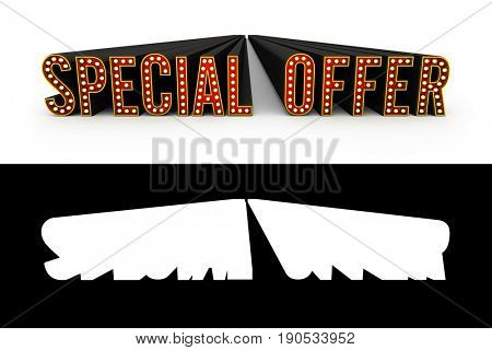 Typical theater style 3D letters spelling the term Special Offer with alpha map for quick and easy isolation.
