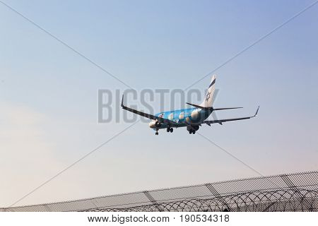 Boryspol Kiev region Ukraine - October 30 2015. UP (ELAL budget brand) Boeing B737-800 lands at Boryspil International Airport (KBP). Low-cost brand