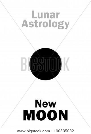 Astrology Alphabet: New MOON (Lunar appearance). Hieroglyphics character sign (single symbol).