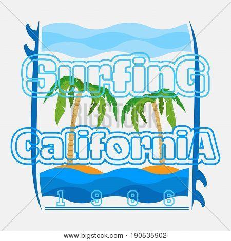 t-shirts surf, LA Beach, california surfing, T-shirt inscription, typography graphic design emblem