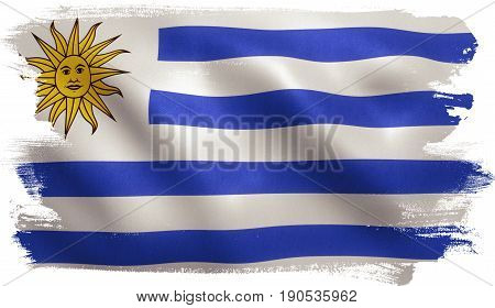 Uruguay flag with fabric texture. 3D illustration.