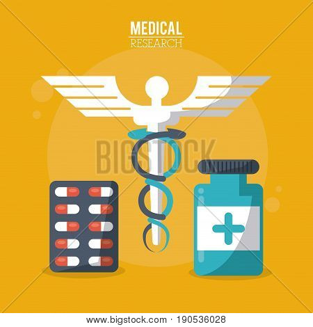 color poster medical research with caduceus symbol and pills in blister and bottle vector illustration