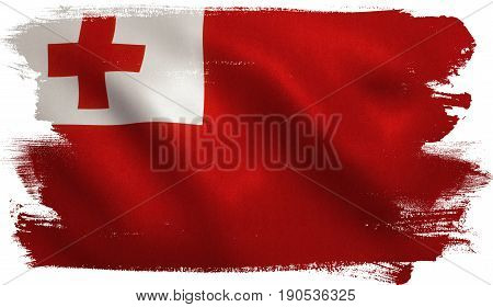 Tonga flag with fabric texture. 3D illustration.