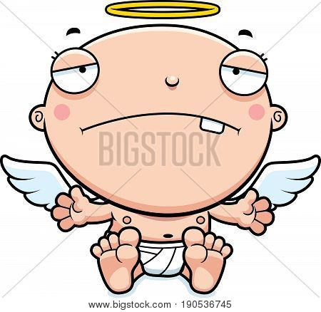 Cartoon Baby Angel Sad