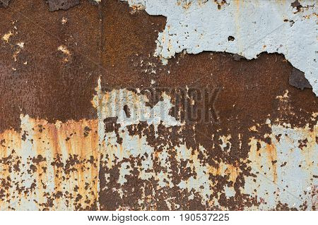 Background texture of Rusted steel. Corrosion of metal. Rust texture on a wall. Rusty metal concept.