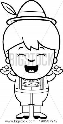 Celebrating Cartoon Lederhosen Boy