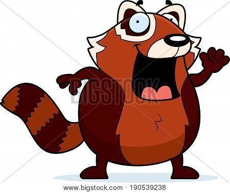 Cartoon Red Panda Waving