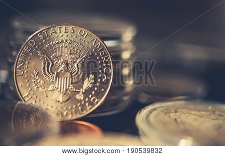 Collectible Half Dollar Coin Closeup Photo. Collecting Coins.