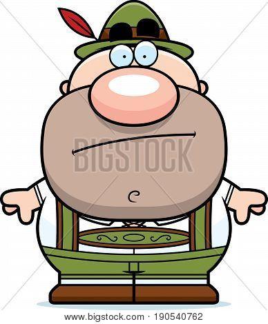 Cartoon Lederhosen Man Bored