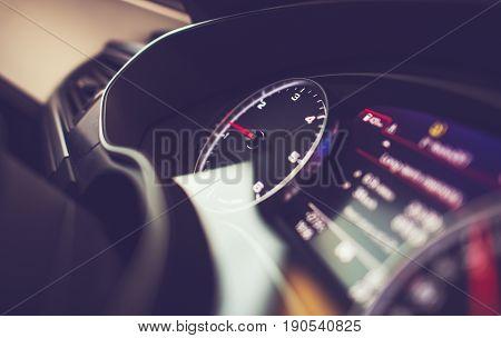 Modern Vehicle Dashboard. Car Engine Revolutions Per Minute Instrument.