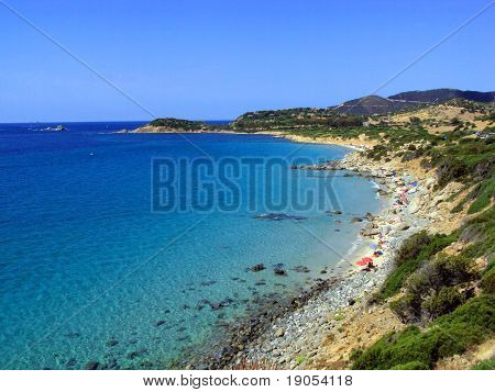 Seaside panorama with rocks, vegetation, beaches and turquoise sea