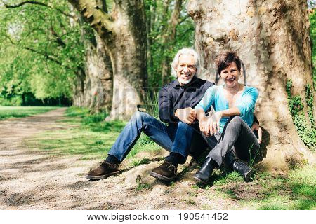 Senior couple resting in a park, Tuebingen, Germany