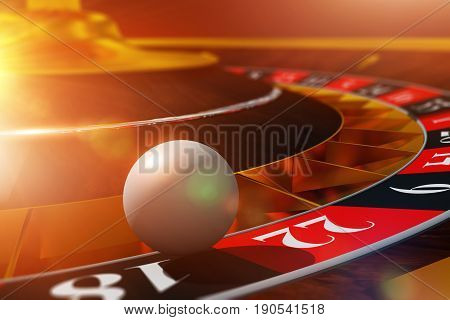 Roulette Ball Wheel Play. 3D Render Illustration with Roulette and the Ball in Extreme Closeup.