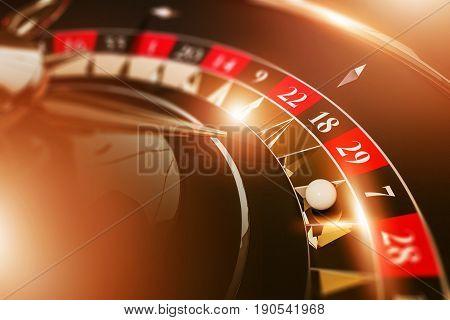 Vegas Casino Roulette Game Concept 3D Rendered Illustration. Golden Black Roulette Closeup.