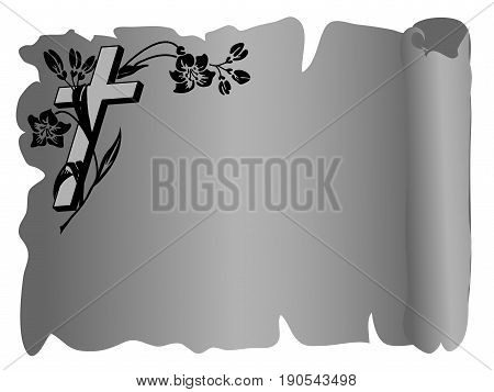 Parchment with cross and flower- vector illustration
