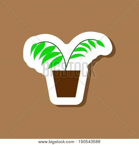 paper sticker on stylish background Ficus design