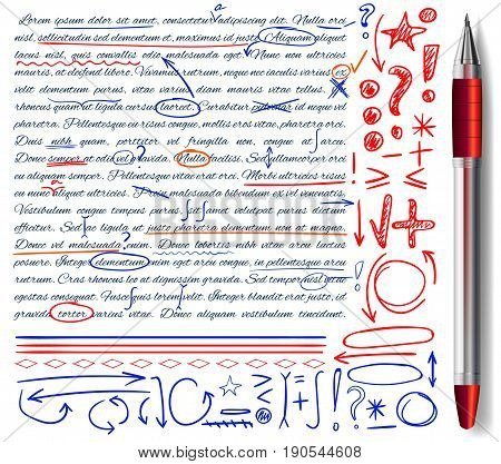 VECTOR set of hand drawn doodle icons and realistic pen. Elements for text correction. Red, orange and blue colors
