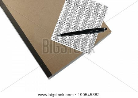 Top View of closed brown cover notebook with pen and document on white background
