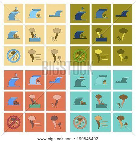 assembly of flat icons nature disaster tsunami tornado