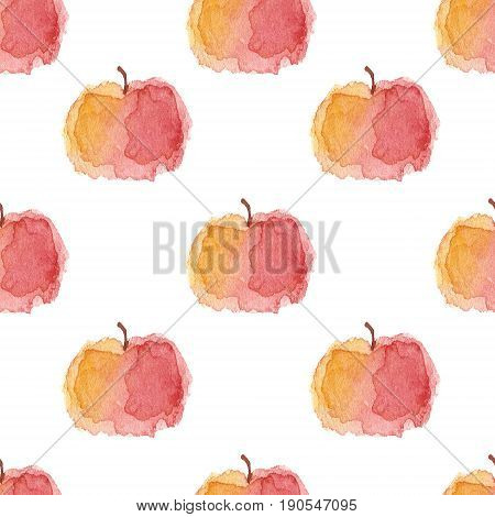 Repeated sketchy hand-drawn stylized wet wash watercolor yellow to red gradient apple with stalk isolated on white background, rhombus grid seamless pattern.