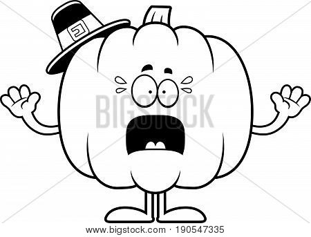 Scared Cartoon Pumpkin Pilgrim