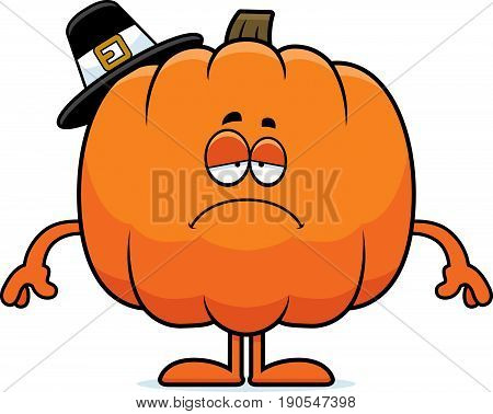 Sad Cartoon Pumpkin Pilgrim