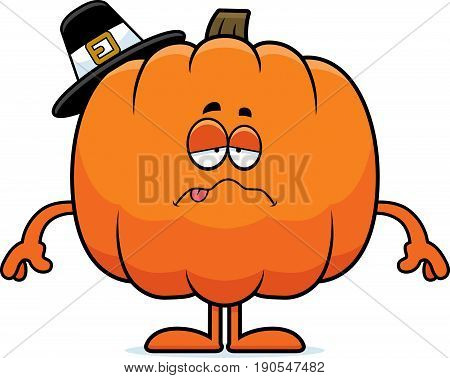 Sick Cartoon Pumpkin Pilgrim