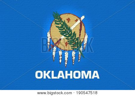 Illustration of the flag of Oklahoma state in America looking like it is painted on a wall.