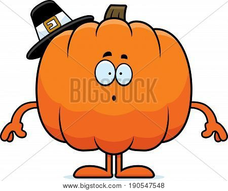 Surprised Cartoon Pumpkin Pilgrim