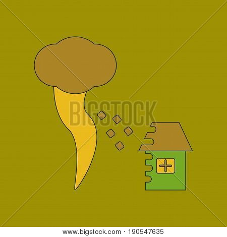 flat icon on stylish background tornado destruction house