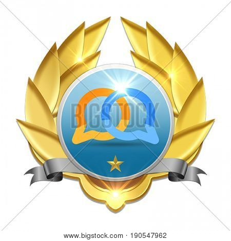 golden badge with star rating symbolizing communication between people