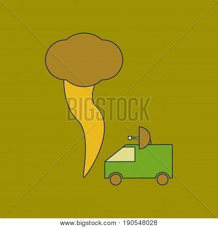 flat icon on stylish background tornado car