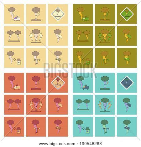assembly of flat icons natural natural disaster tornado