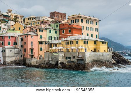 Genoa Italy - May 14 2017: Boccadasse - Small fishing village near the city of Genoa Italy.