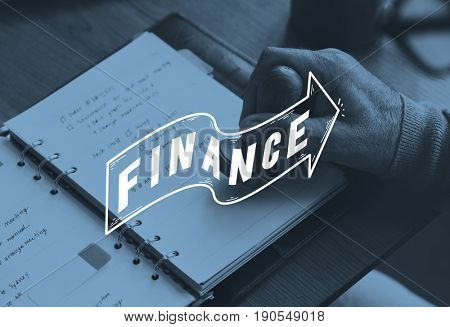 hand stamping on the notebook Finance graphic graphic word