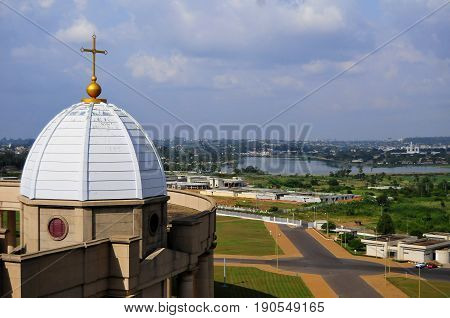 YAMOUSSOUKRO, IVORY COAST. July 3, 2013. The view of Yamoussoukro from the dome of the Catholic Basilica of Our Lady of Peace (Basilique Notre-Dame de la Paix). Consecrated in 1990 by Pope John Paul II, it is the largest church in the world.