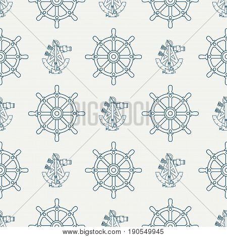 Abstract nautical seamless background pattern with steering wheel and sextant. Vector illustration texture for design, wallpaper.