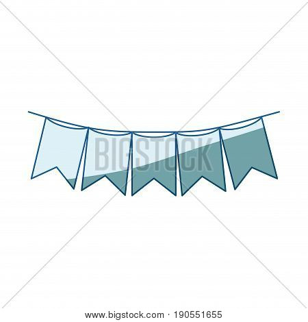 blue shading silhouette of festoons in shape of square with peaks in closeup vector illustration