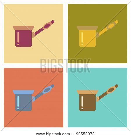 assembly of flat icons coffee arabic Turk
