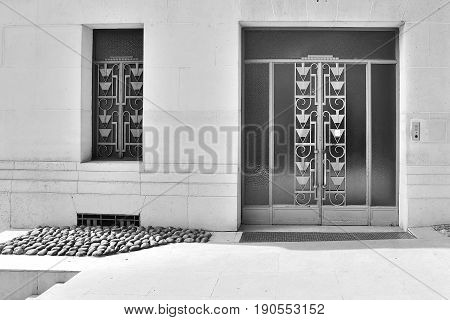 Art Deco Door Exterior Outside Paris France