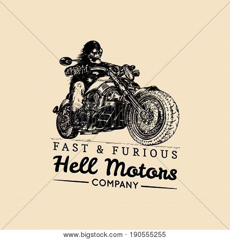 Fast And Furious advertising poster. Vector hand drawn skeleton rider on motorcycle. Vintage eternal biker illustration for custom company logotype, chopper garage label, MC sign, t-shirt print etc.